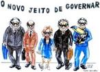 Charge de 16 DE JUNHO DE 2008. <br/> De Simch - &quot;o novo jeito de governar&quot; cr�tica ao governo ga�cho <br/> <br/> Palavras-chave: poder, pol�tica, ideologia, governo.