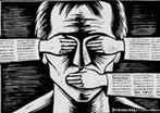 a imagem mostra o resultado de um sujeito social com seus direitos humanos b�sicos negados: n�o v�, n�o ouve, n�o fala. <br/> <br/> Palavras-chave: sujeito social, direitos, estado moderno, cultura, m�dia, censura.