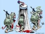 &quot;A primeira &quot;baixa&quot; em uma guerra � a verdade&quot;. Na Charge os crimes de guerra s�o transformados em honra atrav�s de um banho patrocinado pela Casa Branca. <br/> <br/> Palavras-chave: poder, pol�tica, ideologia, guerra, Iraque, EUA.