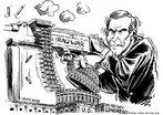 Bush, Guerra do Iraque e Casa Branca. Na charge o presidente dos EUA atira com uma metralhadora utilzando balas que saem da Casa Branca. <br/> <br/> Palavras-chave: poder, pol�tica, ideologia, guerra do Iraque, Bush, EUA, Estados Unidos.