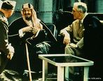 O fundador da moderna Ar�bia Saudita, o Rei Abdul Aziz, num encontro com o Presidente norte-americano Franklin Delano Roosevelt em 1945 na Confer�ncia de Yalta.  <br/> <br/> Palavras-chave: Ar�bia Saudita, Estados Unidos, islamismo, Mundo �rabe, rela��es diplom�ticas.