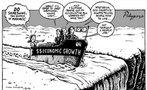 Nesta charge, uma ambientalista, dentro de um barco que ruma para um despenhadeiro, grita para os demais tripulantes: &quot;Fa�am alguma coisa, seus man�acos&quot;. Estes, que representam as autoridades da sociedade civil e industriais, revidam, chamando-a de eco-fan�tica. <br/> <br/> Palavras-chave: movimentos sociais, movimentos ambientalista, rela��es de poder.
