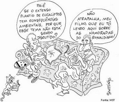 Charge Santiago - Questões sociais e alienação midiática 03/10/2006 <br/> <br/> Palavras-chave: direito, cidadania, movimentos sociais, MST, latifúndio, arte, engajamento social.