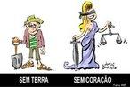 Charge Jorge Barreto 03/10/2006 <br/> MST A justiça é cega <br/> <br/> Palavras-chave: direito, cidadania, movimentos sociais, MST, latifúndio, arte, engajamento social.