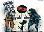 Charge - Tropa de Elite - Por Samuel Casal 19/12/2007 <br/> <br/> Palavras-chave: direito, cidadania, movimentos sociais, MST, latifúndio, arte, engajamento social.