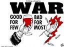 Na charge: &quot;Guerra - Boa para poucos, ruim para muitos&quot;  <br/> <br/> Palavras-chave: poder, política, ideologia, Guerra do Iraque, desigualdade social, imperialismo.