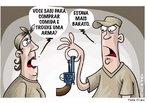 Charge que trata da facilidade de se adquirir uma arma. <br/> <br/> Palavras-chave: venda de arma, violência, sociedade